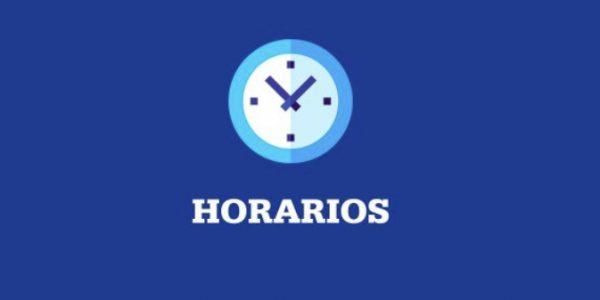 HORARIOS SEMANA DEL 28 DE JUNIO AL 02 DE JULIO